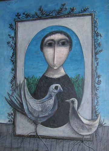 Figure With Two Doves